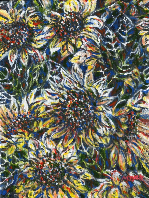 Abstract sunflowers art original painting for sale