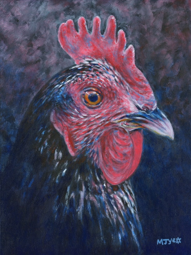 Farm animal chicken portrait painting for sale